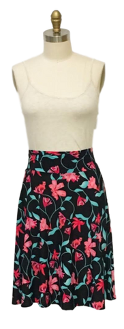 pink flower black skirt made in usa