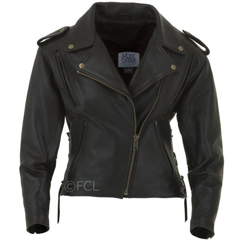 classic womens motorcycle jacket black leather made in usa