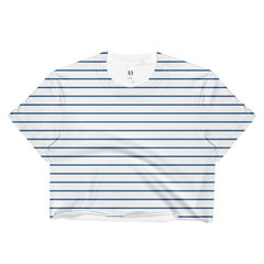 blue white stripe crop top made in usa