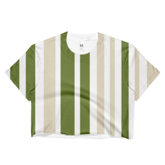 khaki olive stripe crop top made in usa
