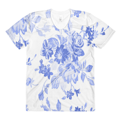 blue white floral top tshirt made in usa
