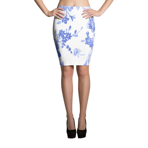blue white floral pencil skirt made in usa