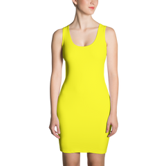 yellow bodycon tank dress made in usa