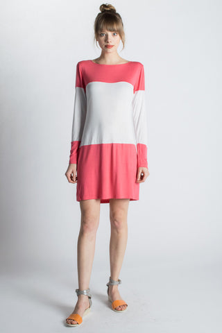 pink color block dress made in usa