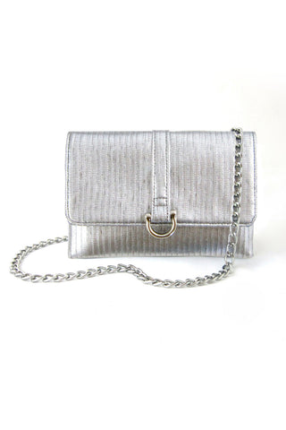 hipster flat silver bag purse made in usa