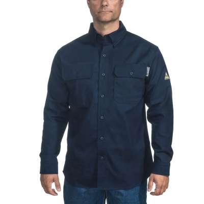mens long sleeve button down oxford work shirt made in usa navy