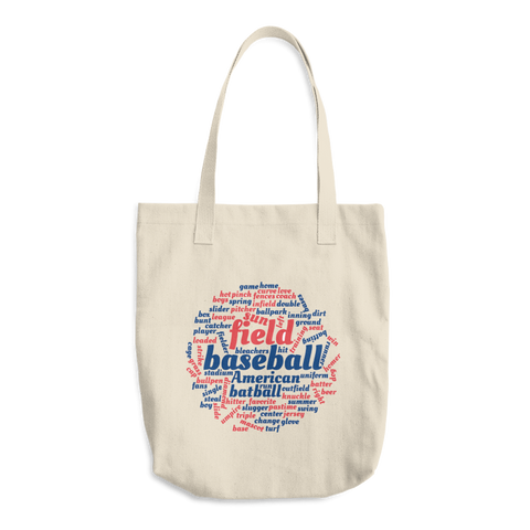 Baseball Word Cloud Cotton Tote Bag - Cinnia Boutique