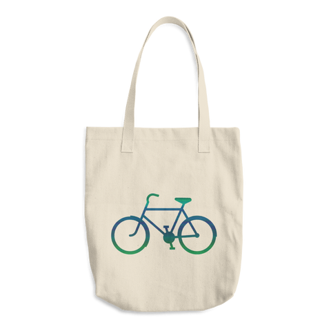 Bicycle Green and Blue Cotton Tote Bag - Cinnia Boutique