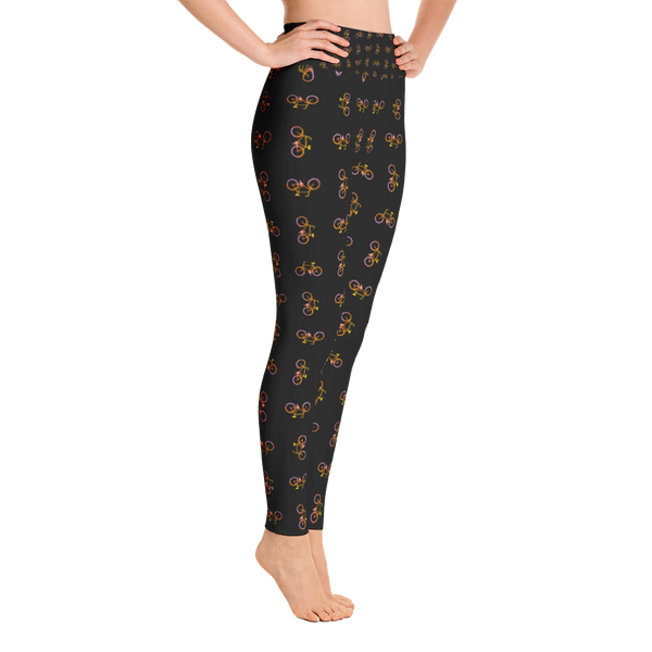 Bicycle Yellow Orange Pink Yoga Leggings - Black - Cinnia Boutique