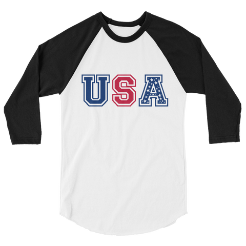 USA Red White and Blue Raglan Sleeve Shirt - Unisex - Cinnia Boutique