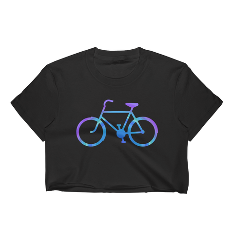 Bicycle Purple and Blue Women's Crop Top - Cinnia Boutique