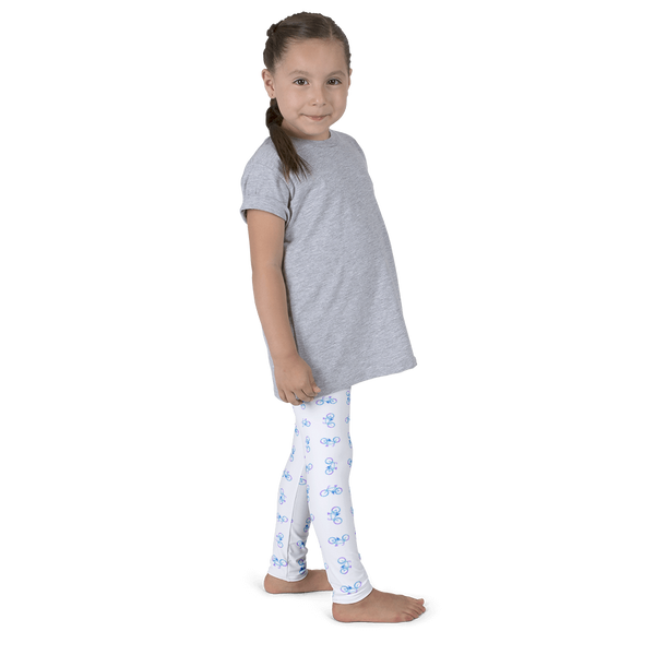 Bicycle Purple and Blue Kid's Leggings - White - Cinnia Boutique