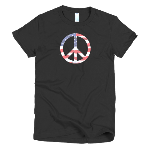 Peace in the USA - Flag Symbol - Short Sleeve Women's T-shirt