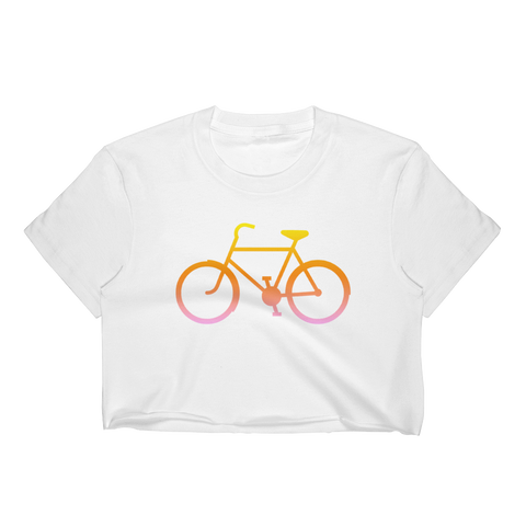 Bicycle Yellow Orange Pink Women's Crop Top - Cinnia Boutique