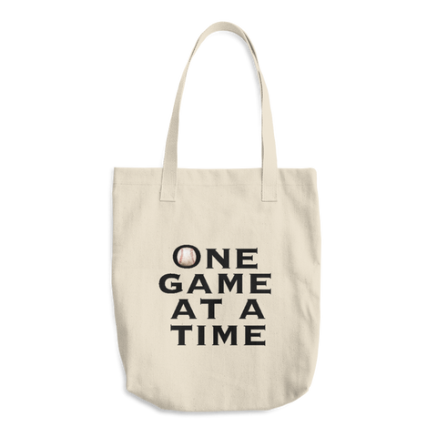 Baseball One Game at a Time Cotton Tote Bag - Cinnia Boutique