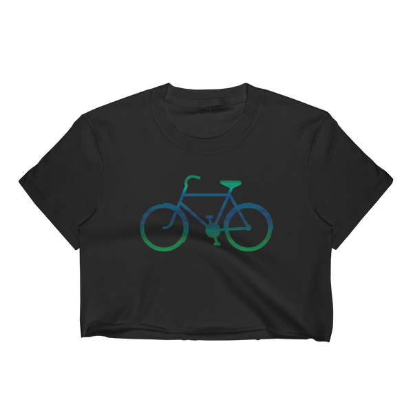 Bicycle Green and Blue Women's Crop Top - Cinnia Boutique