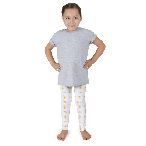 Bicycle Yellow Orange Pink Kid's Leggings - White - Cinnia Boutique