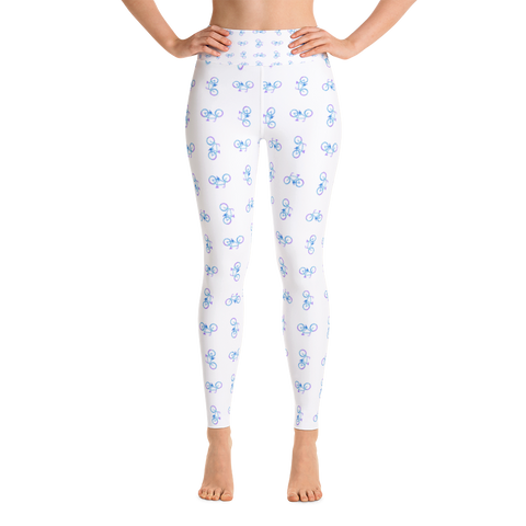 Bicycle Purple and Blue Yoga Leggings - White - Cinnia Boutique
