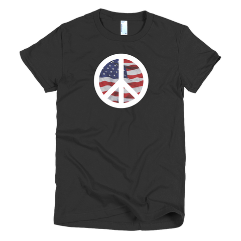peace symbol american flag white symbol womens tee made in the usa cinnia boutique