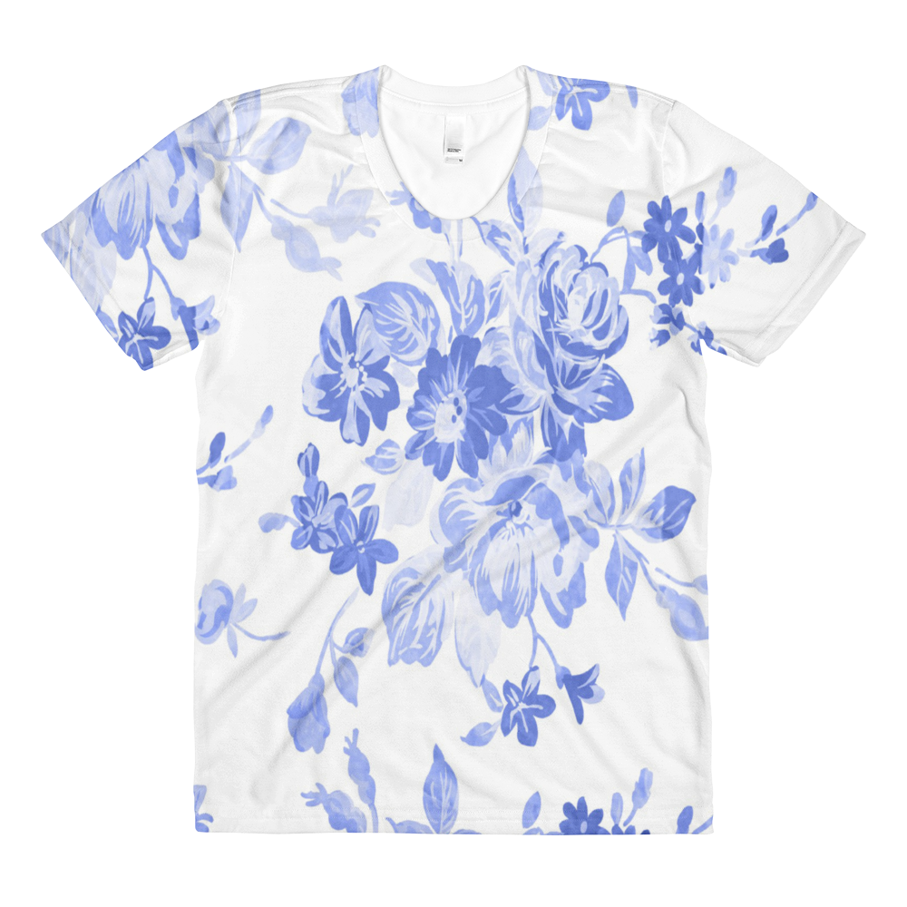 Blue Floral Women's Crew Neck T-shirt - Cinnia Boutique