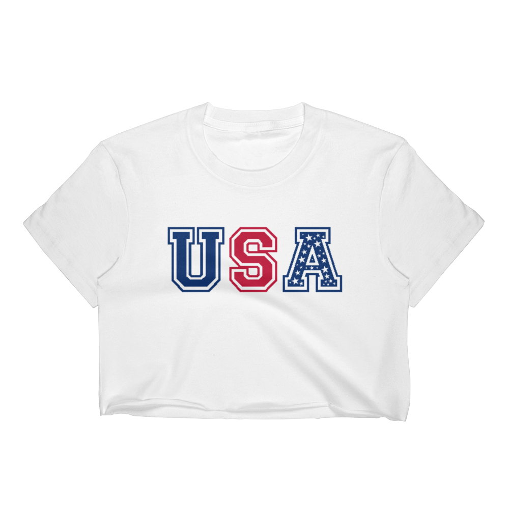 USA Red White and Blue Stars Women's Crop Top - Cinnia Boutique