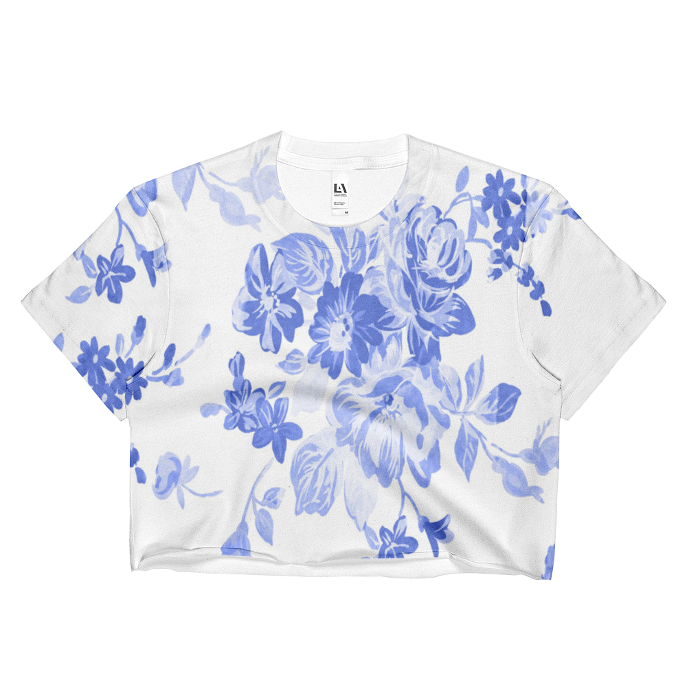 Blue Floral Ladies Crop Top - Cinnia Boutique