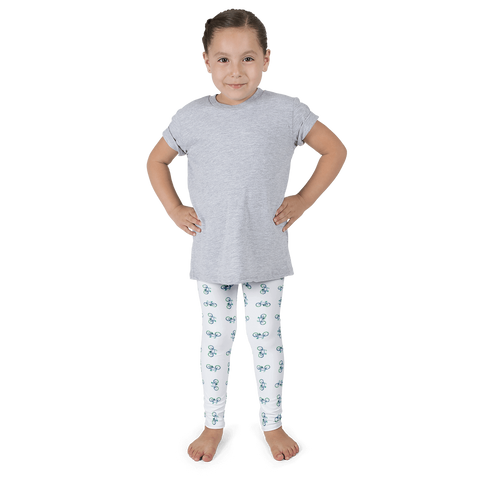 Bicycle Green and Blue Kid's leggings - White - Cinnia Boutique