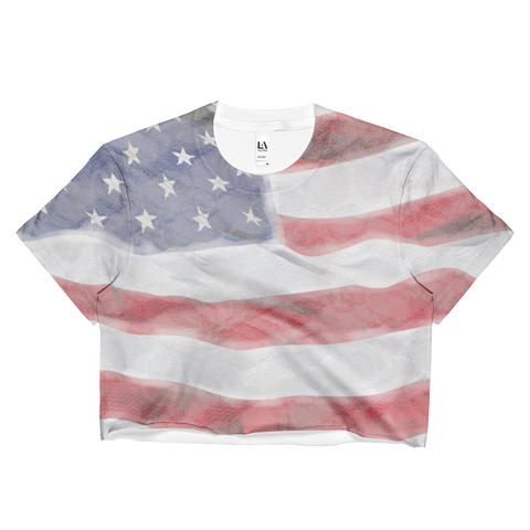 American Flag Ladies Crop Top - Cinnia Boutique