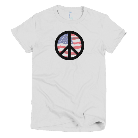 peace symbol american flag black symbol womens tee made in the usa cinnia boutique