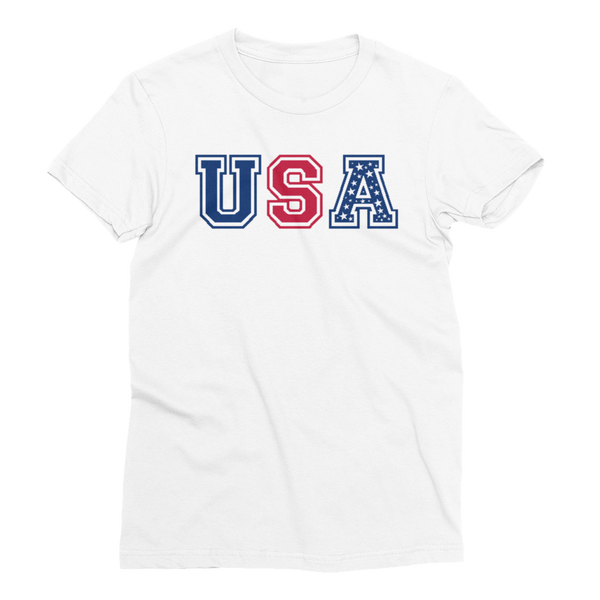 USA Red White and Blue Stars Women's Short Sleeve T-Shirt - Cinnia Boutique