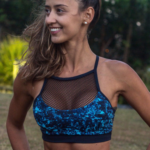 Black Sea Sports Bra with Mesh