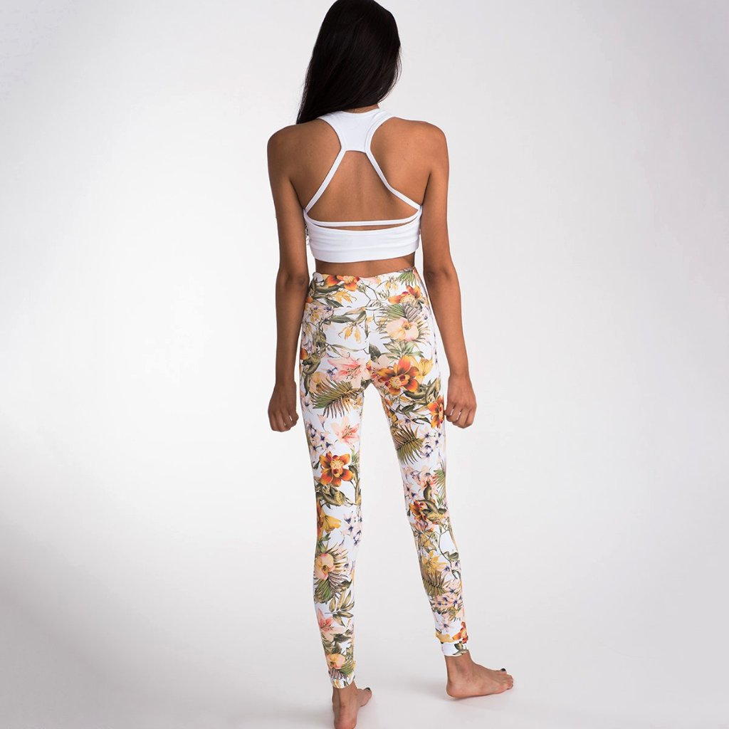 Orange Marigold Flowers Leggings
