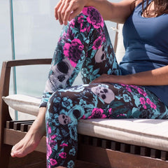 Aqua Blue Roses X Skulls Leggings