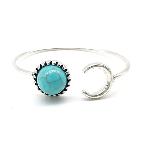 Moon And Sun Stainless Steel + Natural Turquoise Bracelet