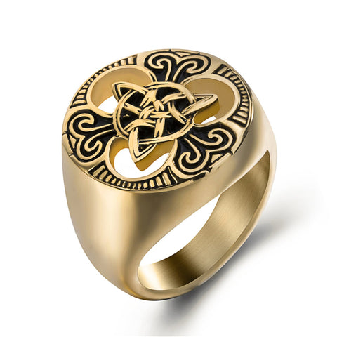 Gold Celtic Triquetra Knot Stainless Steel Ring