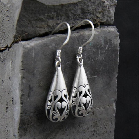Celtic Waterdrop Flower Sterling Silver Earrings