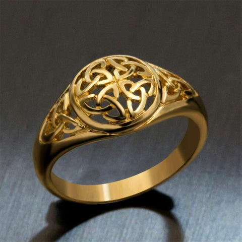 Gold Celtic Flower Stainless Steel Ring