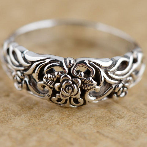 Celtic Rose Flower Sterling Silver Ring