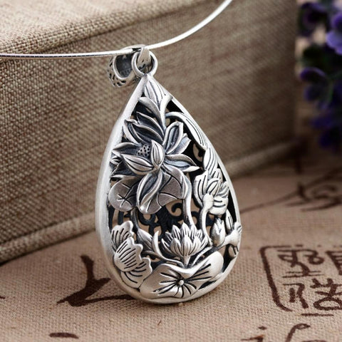Antique Lotus Flower Sterling Silver Pendant