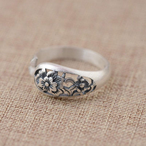 Celtic Flower Resizable Sterling Silver Ring