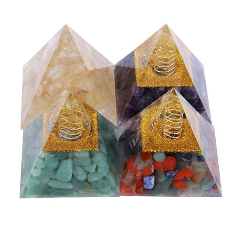Natural Stone Healing Orgonite Pyramid