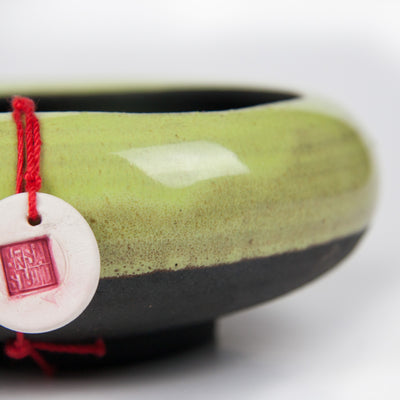 Handcrafted Ceramic Bonsai Pot  Style: The Pebble Bowl Green