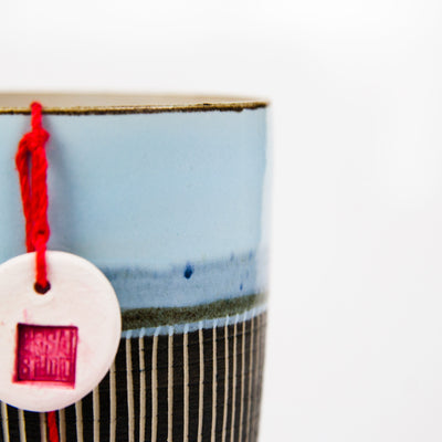 Handmade Ceramic Bonsai Pot  Style: The Tea Cup Blue