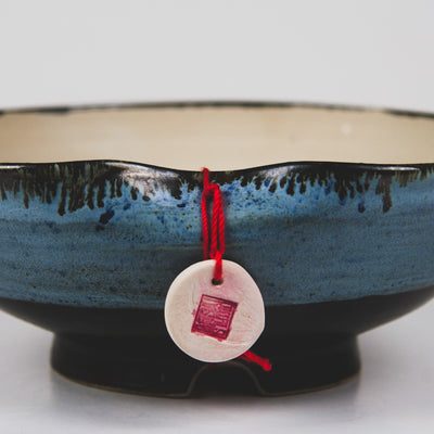 Handcrafted Ceramic Bonsai Pot  Style: The Rice Bowl Blue