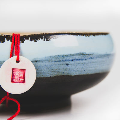 Handcrafted Ceramic Bonsai Pot  Style: The Noodle Bowl Blue