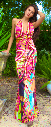 Riveria Multi Color Halter Dress - Pre Order