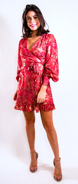 Ruby Red and Gold Wrap Dress
