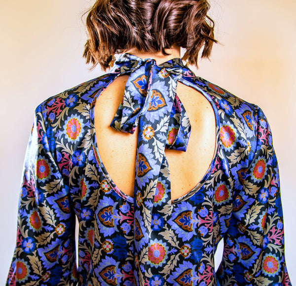 Blue Khartoum Long Sleeve Blouse