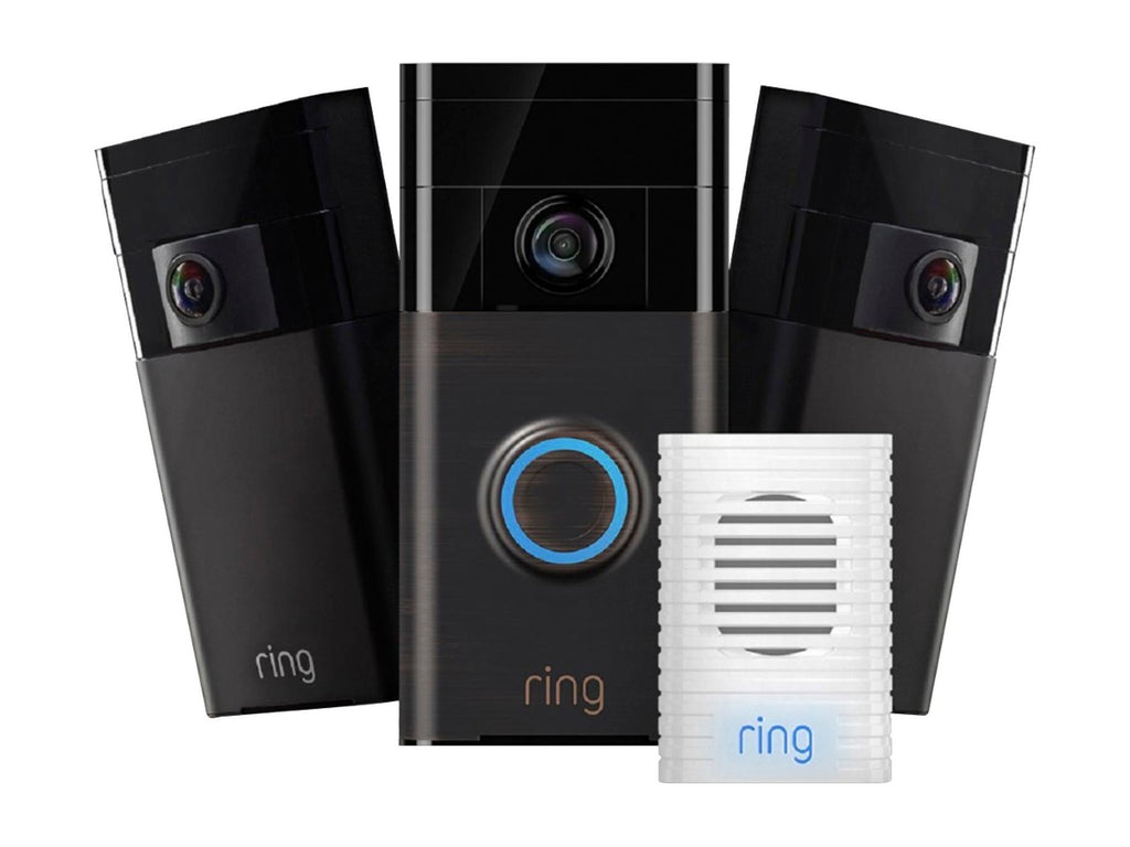 Wi-Fi - Ring Doorbell 1, Chime and 2 Stick Up Cam (Bundle)