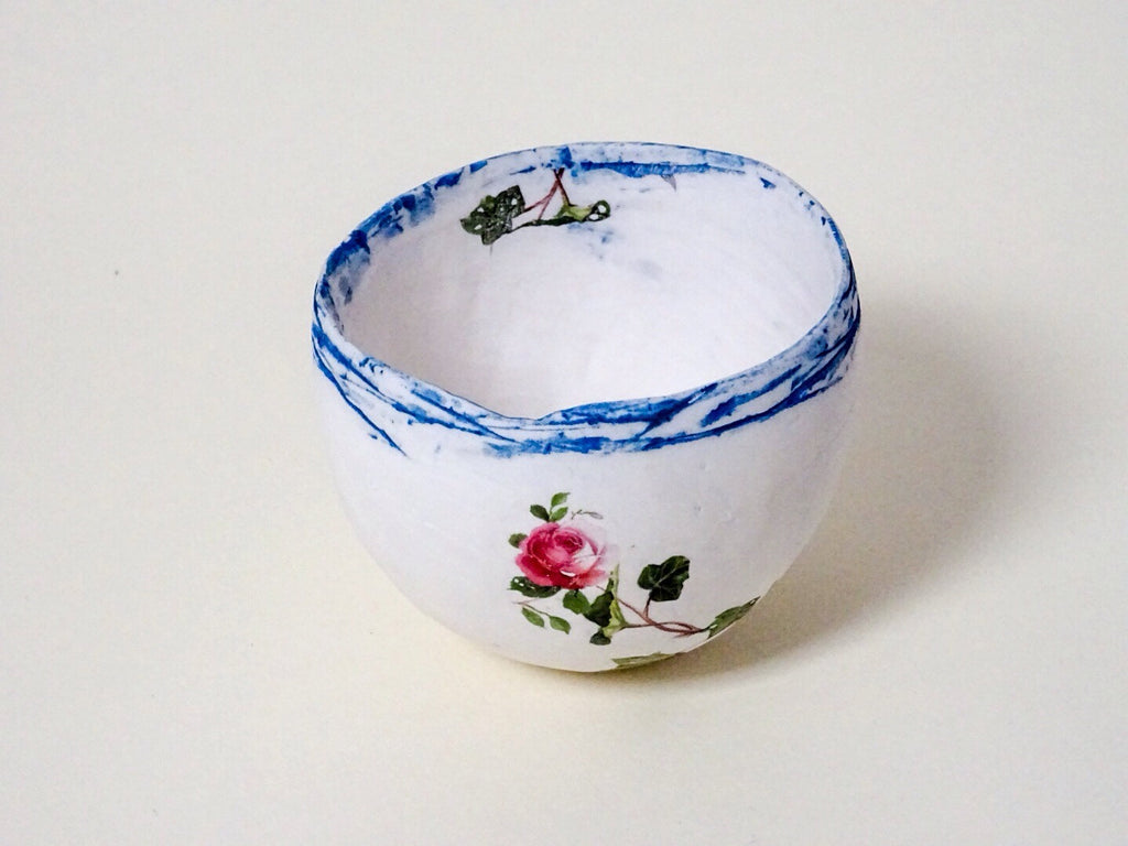 Lovely small floral ceramic bowl, handmade by Judy Collins.